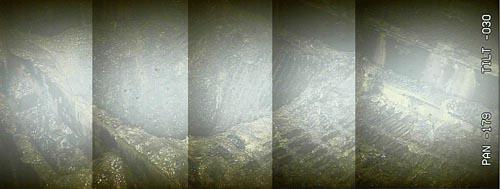 1月30日に実施した内部調査で得られた画像を処理した結果、グレーチングが脱落しかかっている様子が確認された(東電HD提供)