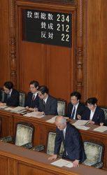 改正炉規法が参院本会議で可決・成立し、一例する山本環境相兼原子力防災担当相(手前=7日、国会)