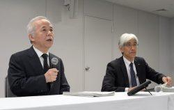 会見する廣瀬社長(左)と文挾常務執行役(11日、東京・内幸町)