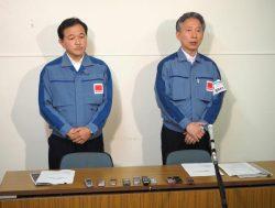 会見に臨む石崎代表(右)と次期代表に就任予定の大倉氏