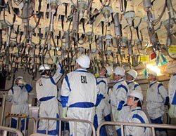 福島第二原子力では圧力容器下部の制御棒駆動機構などを見学した