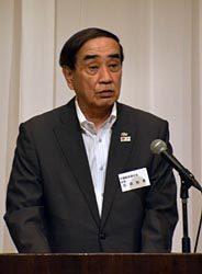 中期事業計画を報告する苅田会長