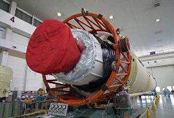 H-ⅡAロケットの下部となる第1段エンジン