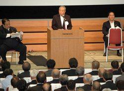 東京決起大会で新幹線整備実現への意気込みを述べる千葉会長