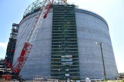 来年8月の完成に向けて順調に工事が進む3号タンク