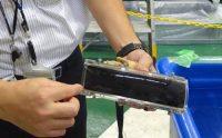 開発した超音波画像化装置のセンサー部分。広域監視を可能にするためセンサー前面に拡散レンズを取り付けた