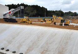 除染土壌の搬入が始まった大熊町の土壌貯蔵施設