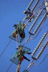 張り替えを前に送電線の付属品を確認する作業員