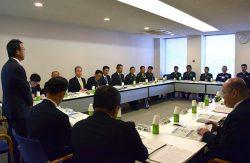 陸自、海事と九州電力による調整会議(左端は九州電力の千田執行役員)
