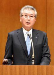 新年の決意を表明する中部電力の勝野社長(4日、中部電力本店)