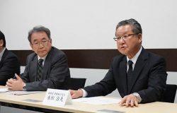新社長就任に向けた抱負を語る永松氏(右)