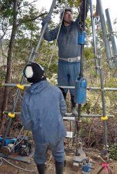 実際の調査地点で使われたポータブル貫入試験機。仮設や給水設備が不要で1~2日程度で設置が可能だ