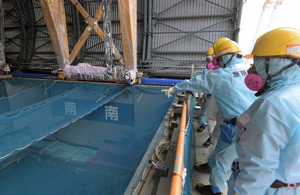 作業床から5メートル下の使用済み燃料を望む