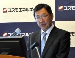 会見で風力発電事業を新たな事業の柱に育てる方針を示した桐山社長