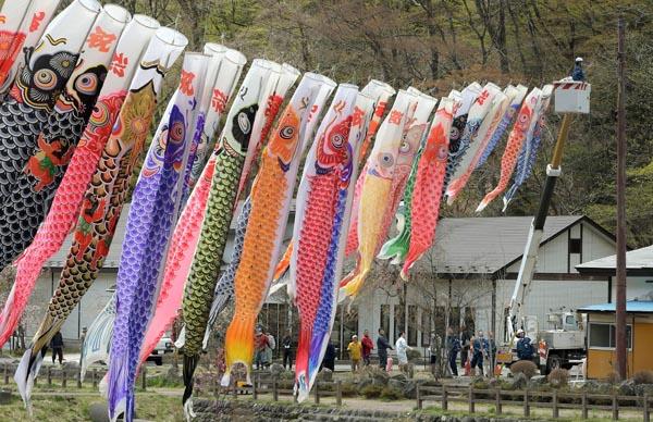 日光国立公園内にあり、古くから湯治の里として親しまれる栃木県那須塩原市の「板室温泉」。ここで13日、こいのぼりの設置が行われ、東京電力パワーグリッド(PG)栃木北支社が作業に協力した=写真