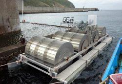 橋脚に係留された潮流発電装置