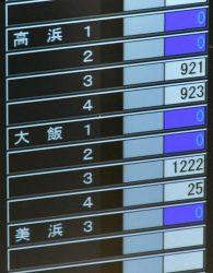 大飯4号機からの送電が再開し出力が表示された中央給電指令所の系統監視盤(11日、大阪市内)