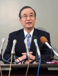 新潟県知事選への立候補を表明する花角氏