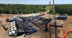 大阪ガスが参画した米国テキサス州の東テキサスシェールガスプロジェクトの水圧破砕現場
