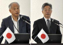 冒頭あいさつした原産協会の高橋理事長(左)と中国核能行業協会の張副理事長