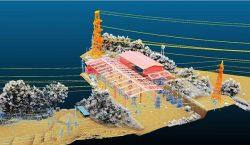 ドローンのレーザー測量により関西電力の訓練施設で取得した位置情報データ
