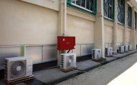 業務用エアコンの設置工事が行われた倉敷市立第五福田小学校の体育館