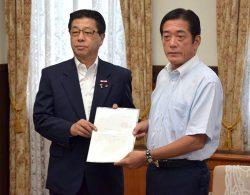 中村知事(右)に事前協議の申し入れ書を手渡す佐伯社長