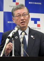 会見する東京ガスの内田社長(11日、東京・大手町)