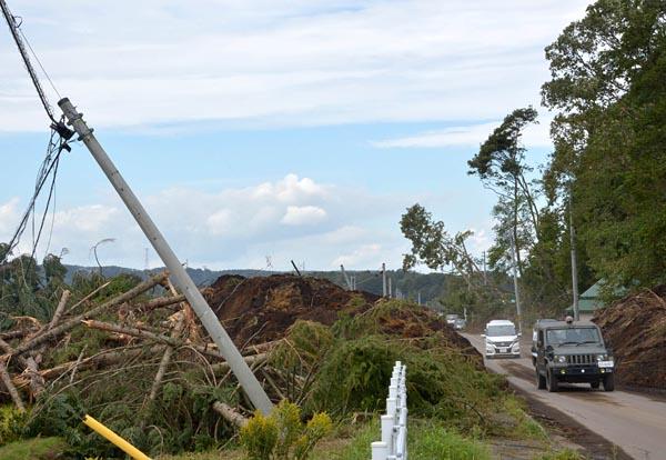 厚真町では地震による土砂崩れで電柱が倒れるなど、震源近くでは送配電設備も被害を受けた