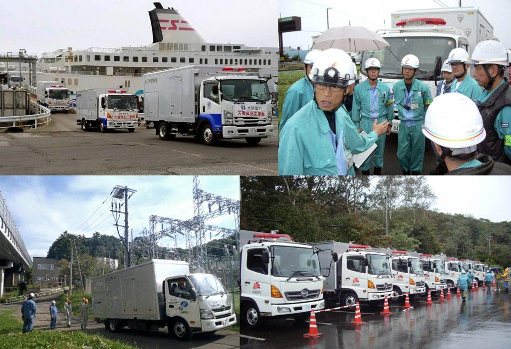 電力需給の逼迫が続く中、全国各地の電力会社から高圧発電機車が続々と集結した。台風21号による被害の大きかった関西電力を除く、電力8社が、地震直後の6日から順次応援に出発。最も遠い沖縄電力は、7日に出航し、11日に苫小牧港に到着した。 (写真左上から時計回りに)海路で北海道に入った北陸電力の災害復旧応援車(苫小牧市)。苫小牧エリアに配備された中国電力の移動発電機車。苫小牧エリアで活躍する中部電力の発電機車。小樽変電所で現近確認を行う沖縄電力の応援部隊