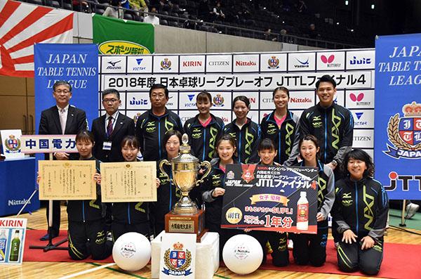 2日に群馬・高崎市で行われた日本卓球リーグプレーオフで中国電力女子卓球部が初優勝。創部28年目で実業団女王のタイトルを手にした