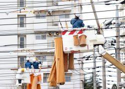 配電保守部門では突風による設備損壊対応を 競い合った