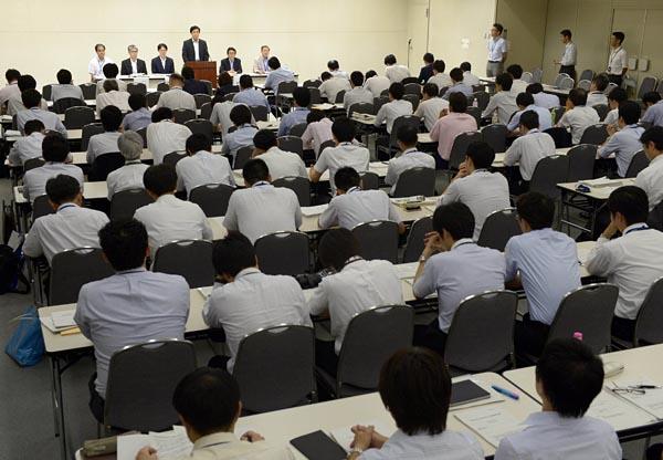 自由化と絡み注目を集めた東電の火力入札。2014年、東京・内幸町の本店で行われた説明会には多くの参加者が集まった