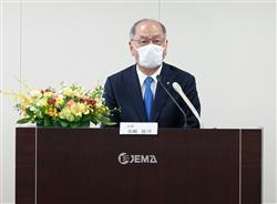 先行きの需要不透明、温室効果ガス削減に協力/JEMA浜崎会長 | 電気新聞ウェブサイト